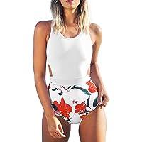 CUPSHE Women's Lilies Print Tank Top One-Piece Swimsuit Beach Swimwear Bathing Suit