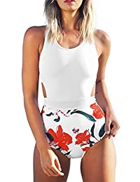 CUPSHE Estampado de Lirios de Mujer sin Mangas Traje de baño de una Pieza Traje de baño de Playa Traje de baño