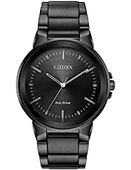 Mens Citizen Eco-Drive Axiom Black Stainless Steel Watch BJ6517-52E