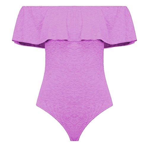 Janisramone - Body sin mangas para mujer, hombros al descubierto, diseño liso, con volantes Lilac