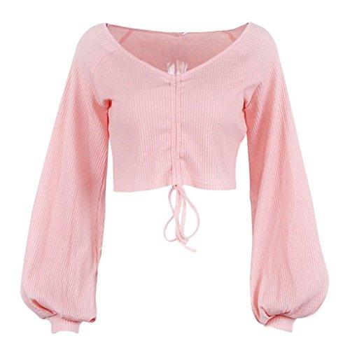 À Chemise Colo Col shirt Sleeves En Witsaye T Les Col En Rosa Décontractée Un V Longue V Automne Femmes Et Pour Lantern Nouvelle Avec Hiver wqOx1C