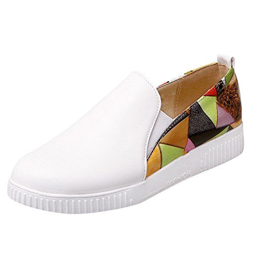Mee Shoes Damen flach slip on mehrfarbig Pumps Weiß