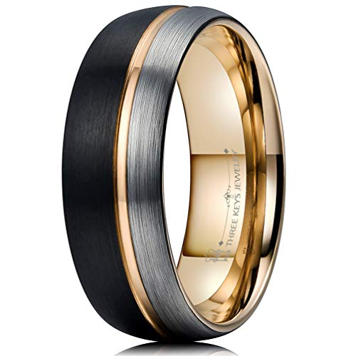 mm Black and Silver Tungsten Wedding Ring Thin Side 18K Rose Gold Grooved Brushed Dome Wedding Band Engagement Ring Size 8.5 ()