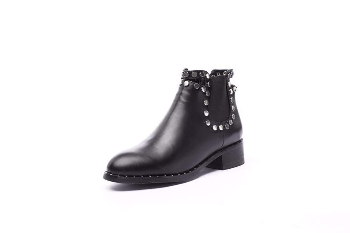 LBTSQ Fashion Damenschuhe Nieten Einzelne Schuhe Heel 5Cm Spitze Modisch Kurz - Mittel - Und Dicke Schuhe Temperament 100 Sätze Martin Stiefel