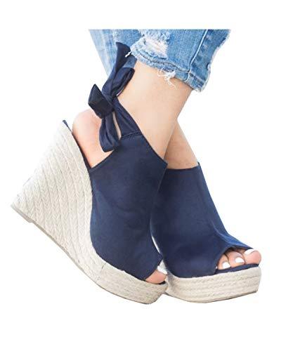Syktkmx Womens Espadrille Platform Wedge Heel Peep Toe Ankle Strap Slingback Suede Sandals