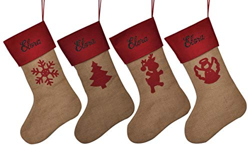 HUAN XUN Customized Name Personalized Christmas Stockings Elora Best Gifts Bags Fireplace Decor for Home -