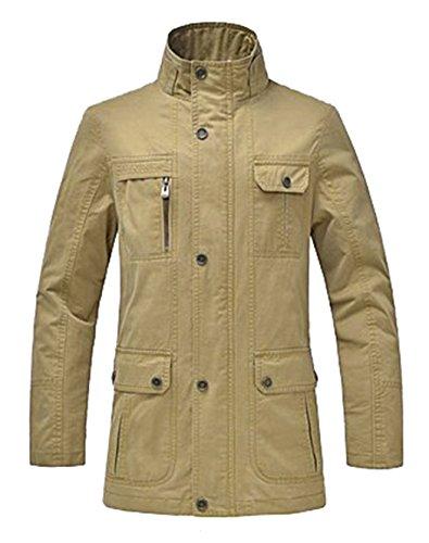 WantDo Mens Spring Casual Trench Coat Jacket Khaki US-3Xlarg