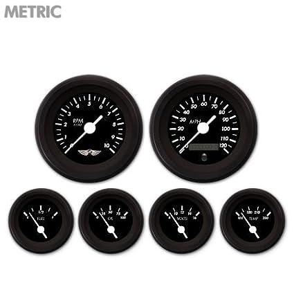 Aurora Instruments GAR233ZMARACAD Marker Black 6-Piece Gauge Set with Emblem