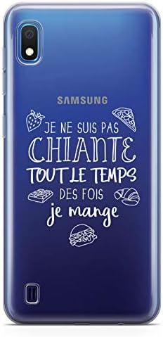 ZOKKO Coque Samsung A10 Je ne suis Pas Chiante Tout Le Temps des Fois Je Mange - Souple Transparente Encre Blanc