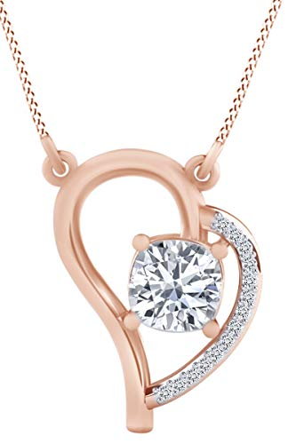 1.07 Carat (Ctw) Cushion & Round Cut White Natural Diamond Heart Pendant Necklace In 14k Solid Rose Gold ()