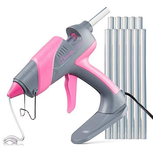 - Chandler Tool Large Glue Gun - 60 Watt - Hot Glue Sticks & Patented Base Stand Included - for Arts Crafts School Home Repair DIY (Pink)