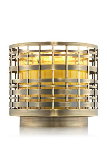 Bath and Body Works Brushed Gold Basketweave 3 Wick Candle Sleeve (Basket Weave Candle Holder)