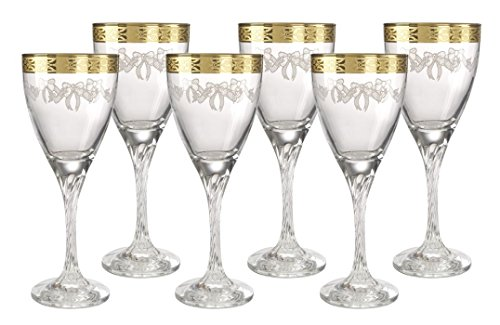 Italian Crystal Wine Glass with 14k Gold Rim Set of 6