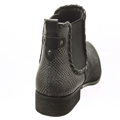Angkorly - damen Schuhe Stiefeletten - Chelsea Boots - bi-Material - Schlangenhaut - Nieten - besetzt Blockabsatz 3 CM - Schwarz
