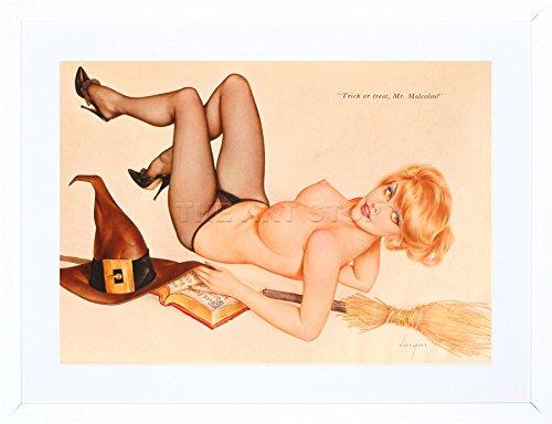9x7 '' PIN UP HALLOWEEN WITCH TRICK TREAT SEXY LADY FRAMED ART PRINT F97X708 -