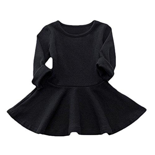 Couleur Noir Robe Casual Longues Amlaiworld De Princesse Bébé Unie Robes Sucrerie Filles Manches qw7tBF