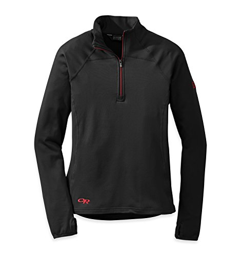 - Outdoor Research Women's Radiant LT Zip Top, Black/Flame, X-Large