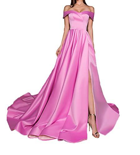 Satin Abendkleider Rock Langes Einfach Linie Brautjungfernkleider Rosa Dunkel Ballkleider A Charmant Damen Partykleider xIqEwtIR