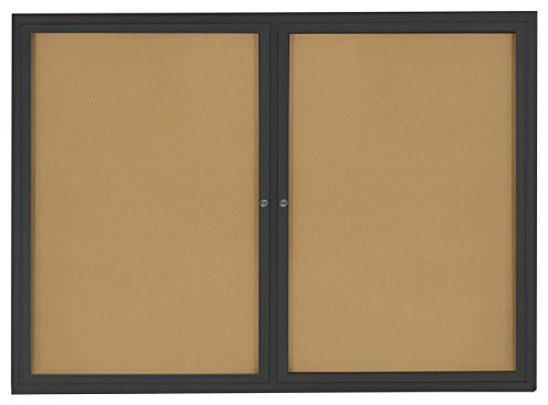 Displays2go 4 x 3 Inches Indoor Bulletin Board with 2 Locking Swing-Open Doors, 48 x 36 Inches Cork Board with Wall-Mounting Bracket, Black Aluminum Frame with Natural Cork Backing (Enclosed Bulletin Board Cabinet)