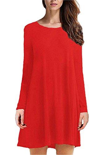 Rosées À Manches Longues Des Femmes En Vrac Occasionnels O-cou T-shirt Rouge Robe