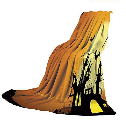 SCOCICI Super Thick Flannel Double-Sided Printing Blanket,Halloween Decorations,Gothic Haunted House Bats Western Spooky Night Scene with Pumpkin,Orange Black,31.50