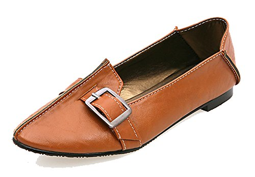 SHOWHOW Women's Comfy Pointed Toe Loafers - Low Top - Slip On Low Heels Brown 6.5 B(M) US by SHOWHOW