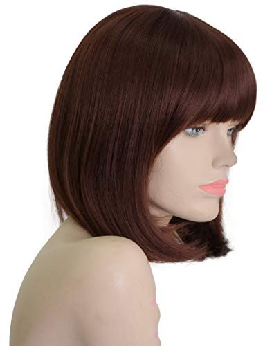 Daiqi Dark Brown Short Bob Wig for Women 12'' Heat Resistant Synthetic Straight Wigs with Bangs Halloween Cosplay Party Wig Natural As Real Hair (Dark Brown)