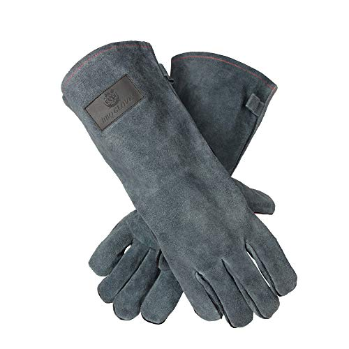 OZERO 662°F(350℃) Heat Resistant Welding Gloves with 16 inches Long Sleeve, Leather BBQ Grill Gloves Oven Mitts for Tig/Mig Welder/Pot Holder/Baking/Fireplace/Stove - Gray