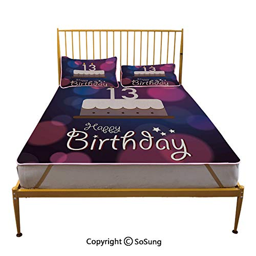 13th Birthday Decorations Creative King Size Summer Cool Mat,Hand Drawn Party Cake with Number Candles Abstract Backdrop Sleeping & Play Cool Mat,Blue Pink White