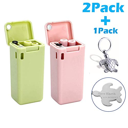 scurry 2 Pack Collapsible Reusable Straw, Composed of Stainless Steel and Food-grade Silicone, Portable Set with Hard Case Holder and Cleaning Brush, For Party, Travel, Outdoor, etc.(Pink&Green)