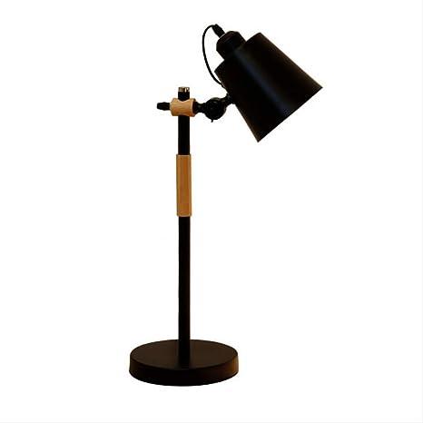 Lámpara de escritorio de hierro nórdico de madera Lámpara de mesa ...