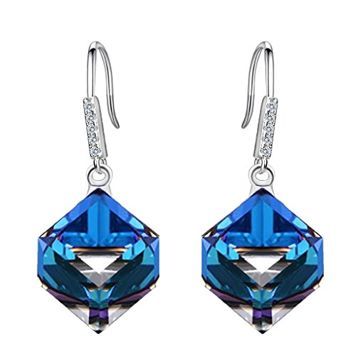 EleQueen 925 Sterling Silver CZ Cube Shape Hook Dangle Drop Earrings Blue Adorned with Swarovski Crystals