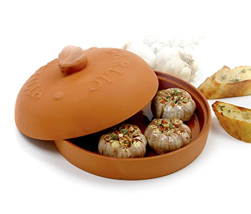Roasting Garlic Terra Cotta - Mozlly Multipack - Norpro Garlic Baker Tortilla Warmer - 8 x 8 x 4.5 inch - Terra Cotta - Conventional or Microwave - Recipes Included - Kitchen Bakeware (Pack of 3)