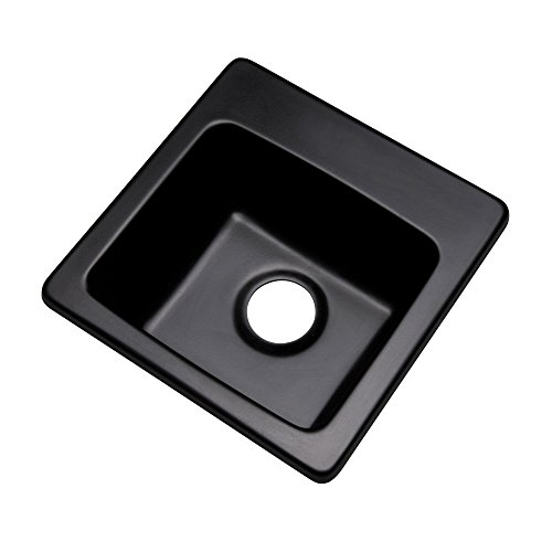 "Dekor Sinks 27099Q Duxbury Composite Granite Prep Sink, 16"", Black"