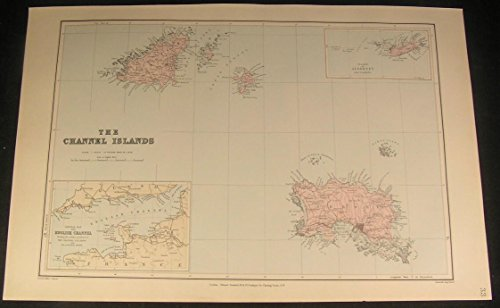 Channel Islands Jersey Guernsey St Peter Park c.1901 antique large color map - Map Jersey Guernsey