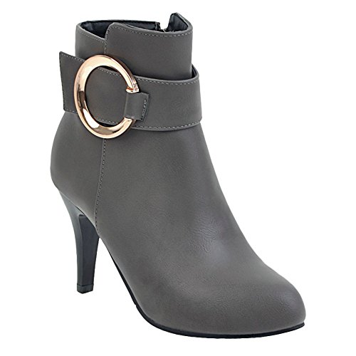 Carolbar Mujeres Pointed Toe Hebilla Chic Zip Fecha Stiletto Short Botas Gris