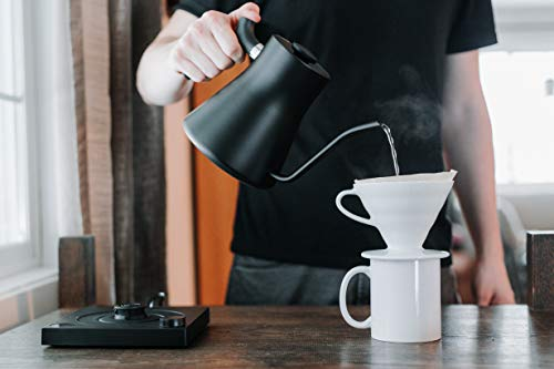 Fellow Stagg EKG+ Bluetooth Connected Electric Pour-Over Kettle For Coffee And Tea, Matte Black, Variable Temperature Control, 1200 Watt Quick Heating, Built-in Brew Stopwatch
