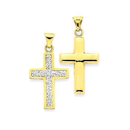 14k Reversible Swarovski Crystal Latin Cross Pendant (14k Crystal Reversible)