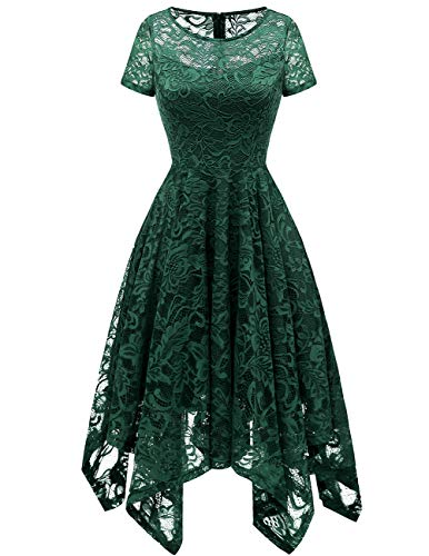 Bridesmay Women's Elegant Short Flare Sleeves Floral Lace Asymmetrical Hanky Hem Cocktail Party Bridesmaid Dress Dark Green XL ()