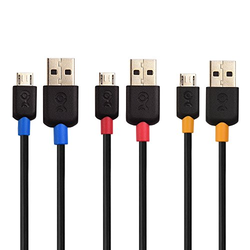 Cable Matters 3-Pack USB to Micro USB Cable (Micro USB to USB 2.0 Cable/Micro USB Charging Cable) in Black 3 Feet - Available 3FT - 15FT in Length -
