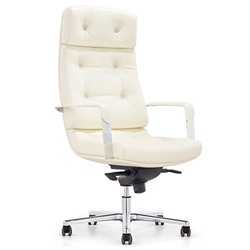 Perot Genuine Leather Aluminum Base High Back Executive Chair - Cream