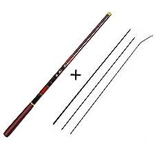 3.0M-7.2M Telescopic Fishing Rod 3/7 Power Carbon Fiber Rod Kits Stream Fishing Rod Pole + Float + Line+3Top Tips Tackles,Green,5.4 M