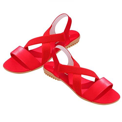 Tefamore Women Low Heel Anti Skidding Beach Cross Strap Solid Shoes Sandals Rdh83x11u