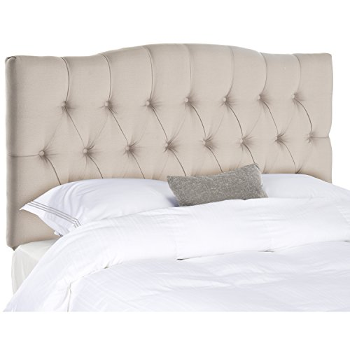 Upholstered Tufted Headboard - Safavieh Axel Taupe Linen Upholstered Tufted Headboard (King)