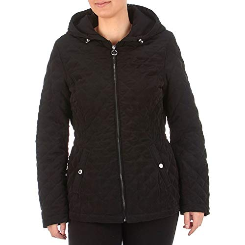 Quilted Coat Laundry (Laundry by Shelli Segal Quilted Hooded Coat Jacket Black (XL))