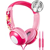 Kids Headphones, Mumba Volume Limited Over Ear Headphones, 85 Safe Listening Adjustable Headsets with Microphone for Kids Children (Pink)