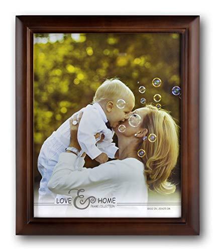 Spiretro 8 x 10 inch Classic Curve Wide Molding, Natural Solid Wood Picture Frame with Plexiglass, Vertical and Horizontal for Tabletop or Wall Mounting Display Photo Frame, Plain Honey Brown