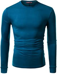 Doublju Mens Long Sleeve Half Turtle Neck Split Hem T-shirt