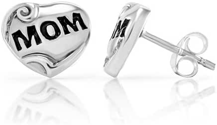 925 Sterling Silver Love Mom Heart Shaped Tiny 10 mm Post Stud Earrings