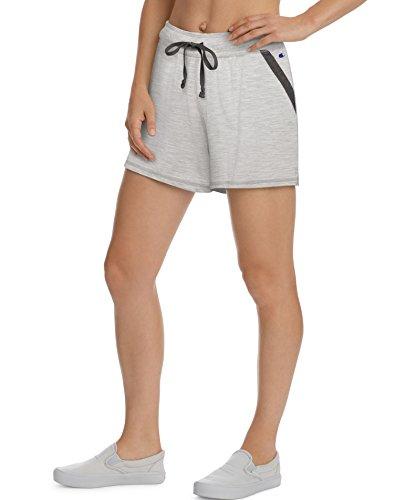 Champion Women's Heathered Jersey Short, Oxford Grey Heather/Granite Heather, XXL